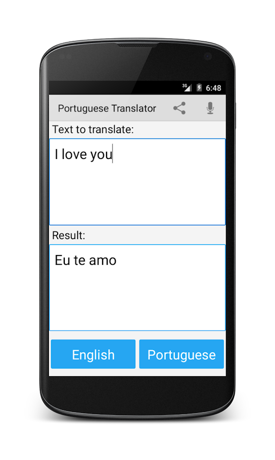 Portuguese English Translator Screenshot