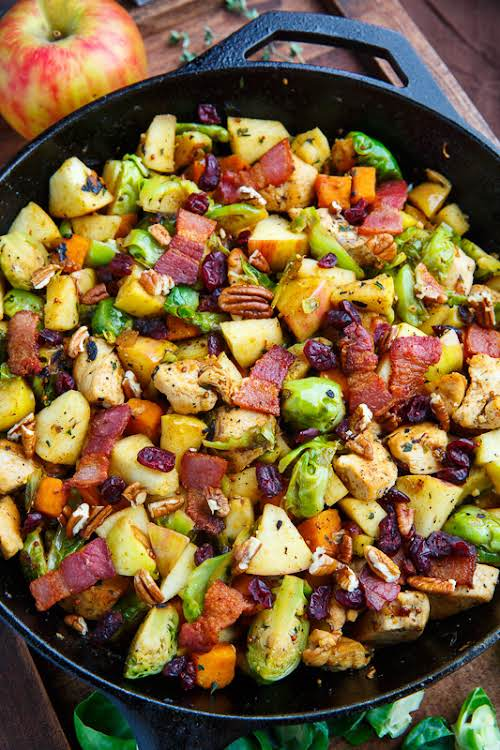 """Harvest Skillet Chicken with Apples, Brussels Sprouts and Sweet Potatoes """"Finally I..."""