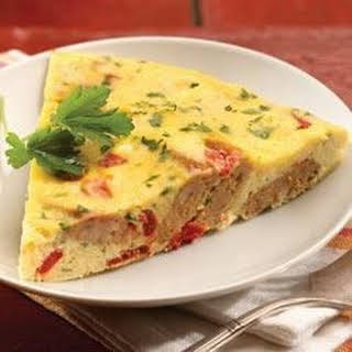 al fresco Roasted Pepper and Asiago Chicken Sausage Frittata.