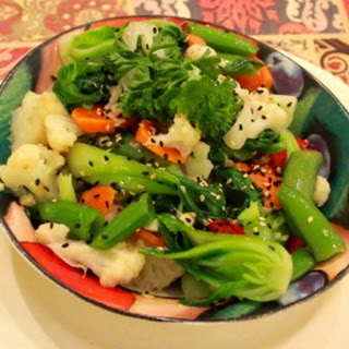 Bamboo Steamed Veggies with Sesame Marinade.