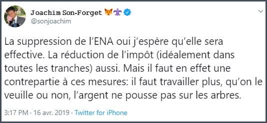 Tweet JSF La suppression de l'ENA oui j'espère qu'elle sera effective