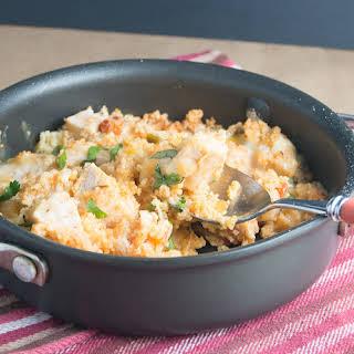 Cheesy Sazon Chicken Couscous.