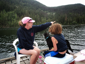 Photo: Trying to distract herself and Brendan from the call of nature by pointing out some nature.