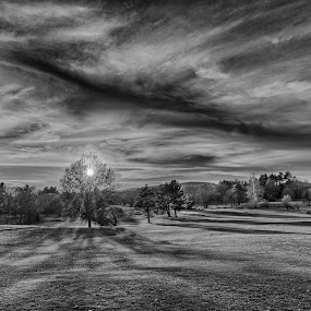 Sunset over Staatsburg by Andrew Halpern - Landscapes Sunsets & Sunrises ( pwc81, black and white, sunset, landscape )