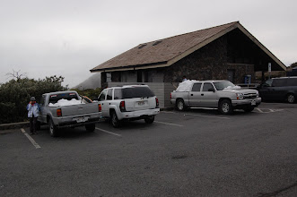 Photo: Back at the Visitor Station (9,000 ft.) there is no more snow, except in trucks.