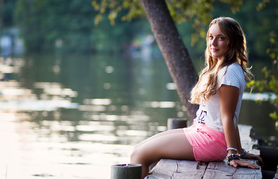 Afternoon by Lake by Faysal Hasan - People Portraits of Women ( girl, afternoon, teen, lake, women, portrait )