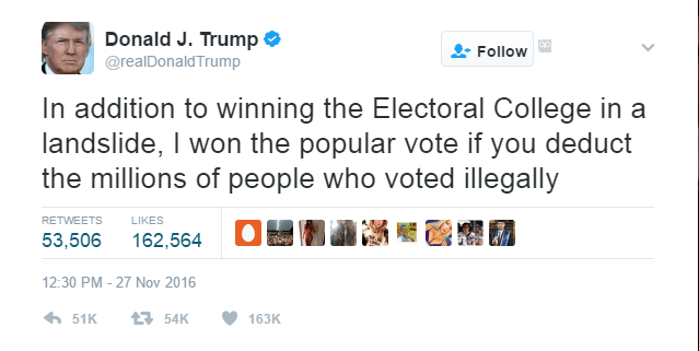 ne of Donald Trump's tweets on the popular vote