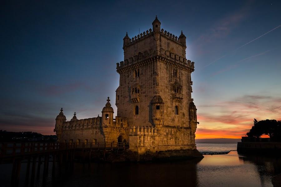 Belém Tower by José Borges - City,  Street & Park  Historic Districts ( torre de belem, tagus river, riverside, sunset, lisbon, portugal,  )