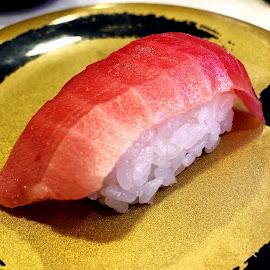 Sushi by Bill      (THECREOS) Davis - Food & Drink Plated Food ( #maguro, #fish, #sushi, #iphone, #rawfish, #japanesefood, #iphone8plus, #iphone8, #tokyo, #tuna, #raw, #chutoro, #toro, #food, #japan, #red )