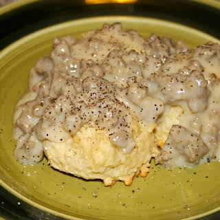 Dairy Free Drop Biscuits with Sausage Gravy.