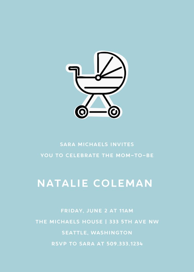 Natalie's Baby Shower - Baby Card Template