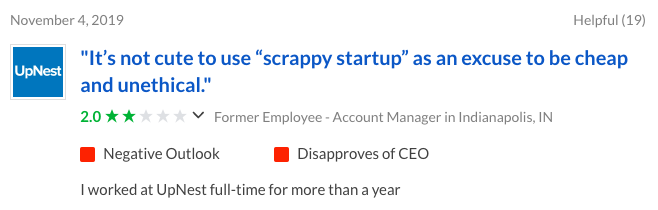 Upnest Negative Employee Review