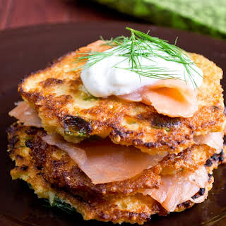 Homemade Crispy Millet Pancakes with Smoked Salmon.