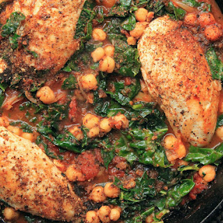 Chicken in Tomato Sauce With Chickpeas and Kale.