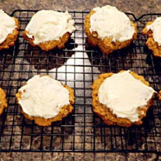 Pumpkin Cookies with Homemade Cream Cheese Frosting.