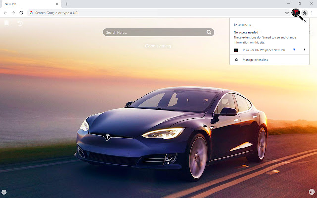 Tesla Car HD Wallpaper New Tab