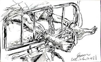 Photo: 哀號大地獄2011.10.26鋼筆 這客戶在病床上不停哀號,看似可憐,實為可惡!能自己吃飯喝水,卻樣樣都要人餵,就連大便大了下去也刻意不講,搞得我和同事加上護士三人花近半小時幫他清理,而他就在這時死命哀號,等到鄰床客戶對他抗議,他卻又假裝睡著…還真快把護士小姐氣哭了!
