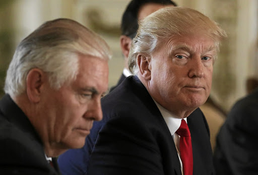 TRUMP'S TILLERSON TWEET: Often having differing views on policy, US President Donald Trump fired his secretary of state Rex Tillerson on Tuesday. Picture: REUTERS