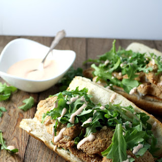 Oven-Fried Cod Sandwich with Arugula & Chili-Citrus Mayo