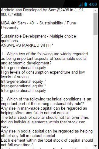 MCQ 401 SUSTAINABILITY MBA PU