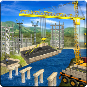 River Road Bridge Construction Crane Simulator 18