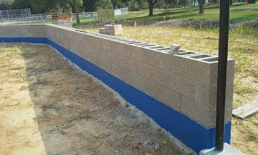 Photo: Backstop Wall w/blue stripe 08-01-2014