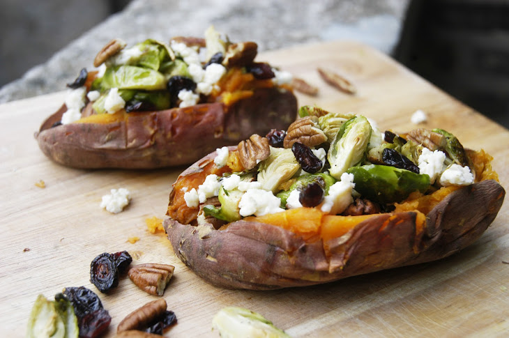 sweet potato with brussels sprouts blue cheese cranberries and pecans ...
