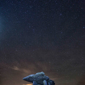 Night Sky Poulnabroune  by Helen Quirke  - Landscapes Starscapes ( the burren, long exposure, night sky, dolmen,  )