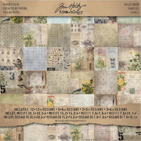 Tim Holtz Idea-ology Paper Stash Paper Pad 12X12 36/Sheets - Wallflower