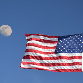 The Flag of the Free by John Tuttle - Artistic Objects Other Objects ( moon, flagpole, flag, blue sky, patriotic, american flag, stars and stripes, banner,  )