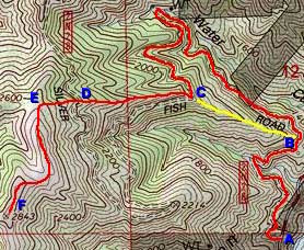 Photo: Topo Map - Routes to Summit 2843 from Hwy 39