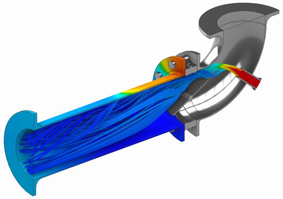 ANSYS AIM перекрывает широкий спектр решаемых физических задач, включая связанные расчёты. В данном расчёте на стенках трубы приложены температуры, полученные в результате расчёта потока жидкости. На рисунке показаны напряжения от этой тепловой нагрузки