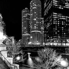 Chicago Riverwalk by Michael Lemm - City,  Street & Park  City Parks