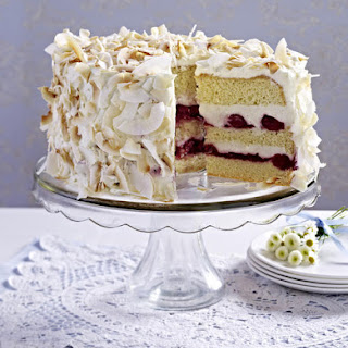 Coconut and Cherry Layer Cake.