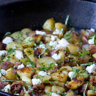 Healthy Potato Hash with Prosciutto & Goat Cheese.