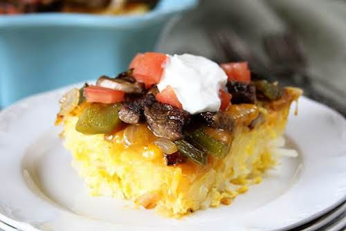 "Baked Big Steak Omelet""This is my wife's favorite brunch/breakfast entree when we..."