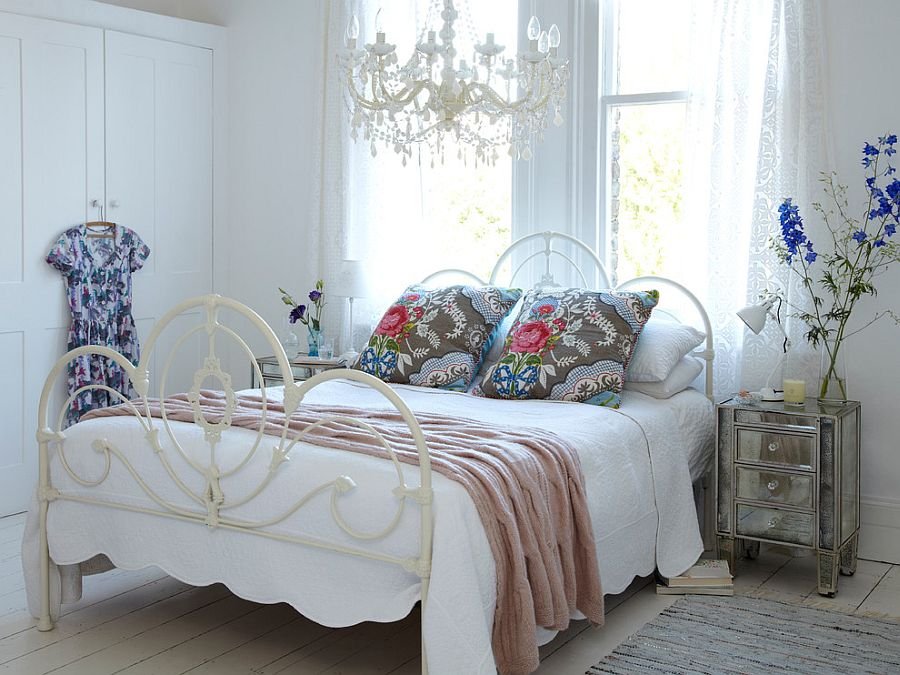Bed with Floral Accent Pillows