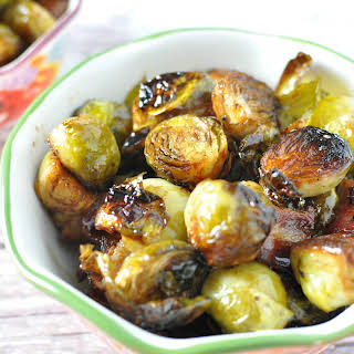 Roasted Balsamic Brussel Sprouts with Bacon.