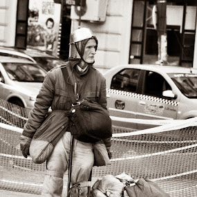 Contemporary Don Quixote by Adrian Popescu - People Street & Candids ( urban, b&w, homeless, street, black & white, analogue, portrait, man, knight, film is not dead )