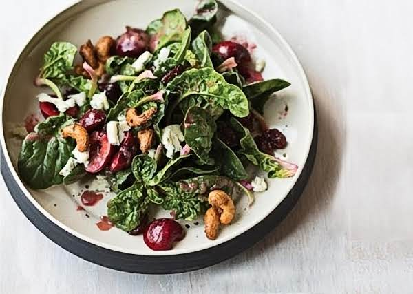 Spinach Salad With Cherries And Candied Cashews Recipe