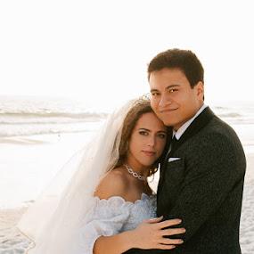 My Everything by Autumn Wright - Wedding Bride & Groom ( bride, groom, beach, wedding, portrait )