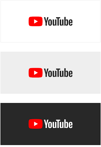 YouTube logo on solid backgrounds