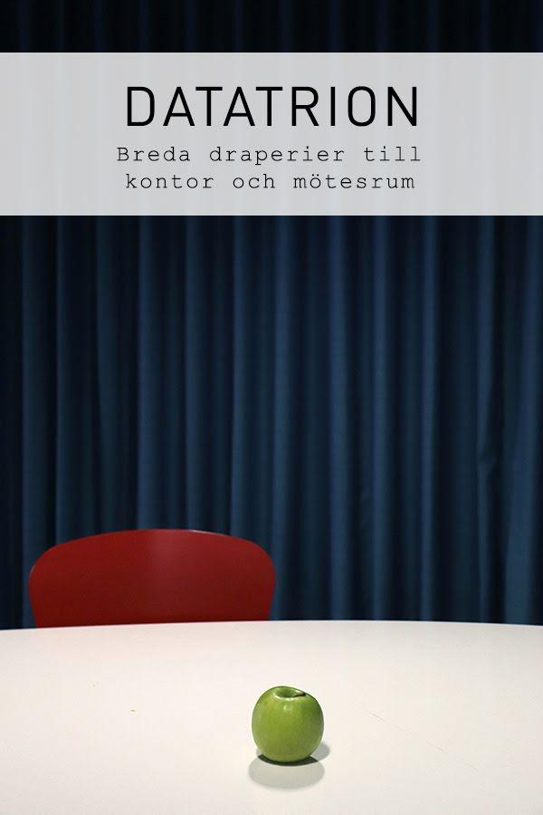 Sömnad för företag: Konsultation, montering och sömnad av draperier till Datatrions företagslokaler.