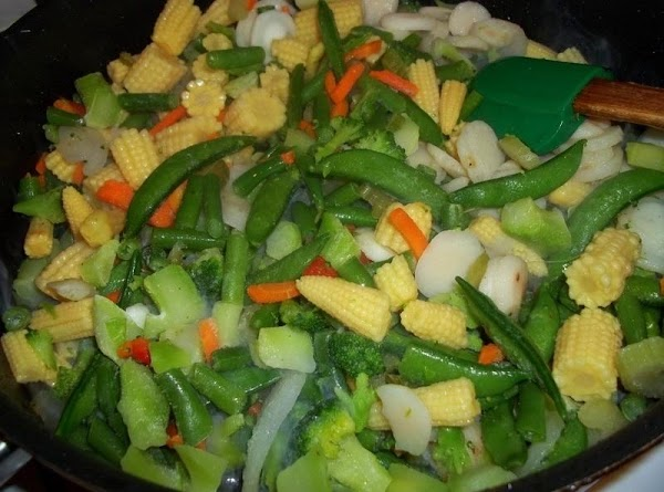 In the same skillet, stir fry the vegetables in remaining oil for 4 -...