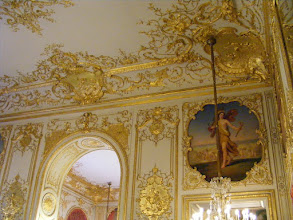 Photo: Some of the elaborate ceiling work in the room.