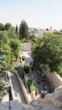 Photo: tourists going to Abbey or Cenacle or Tomb of David, all in this area