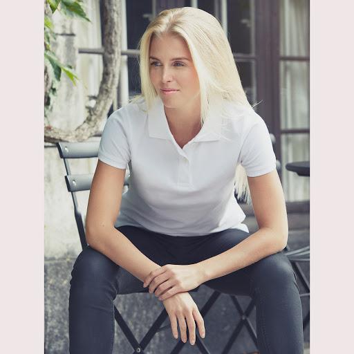 Neutral Organic White Ladies Polo shirt
