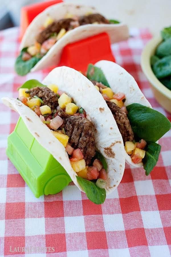 Breakfast Tacos-sausage,pineapplesalsa Spinach