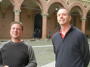 Photo: Chris and Roger, while we were out touring Bologna. This is on the Piazza Santo Stefano, right before we visited the Basilica of Santo Stefano, a really amazing ancient church in Bologna. https://en.wikipedia.org/wiki/Santo_Stefano,_Bologna
