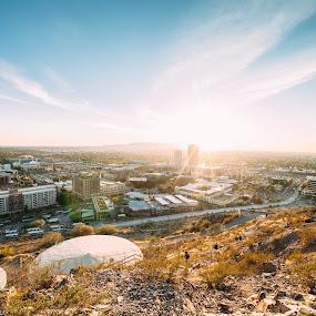 Tempe, AZ by Jonathan Stolarski - City,  Street & Park  Skylines ( az, tempe, sunset, arizona, a mountain )